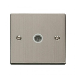 Click Deco Victorian Stainless Steel Single 5A Coaxial Socket