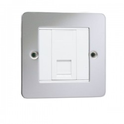 Eurolite Enhance Flat Plate Polished Stainless 1 Gang Data Socket with White Insert