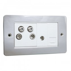 Eurolite Enhance Flat Plate Polished Stainless 2 Gang Sky Plus with White Insert