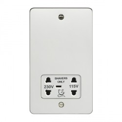 Eurolite Enhance Flat Plate Polished Stainless 2 Gang Dual Voltage Shaver Socket with White Insert