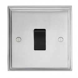 Eurolite Stepped Edge Satin Chrome 1 Gang 10amp 2way Switch with Black Insert