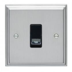 Eurolite Stepped Edge Satin Chrome 1 Gang 20amp DP Engraved Appliance Switch with Black Insert