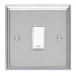 Eurolite Stepped Edge Satin Chrome 1 Gang 20amp DP Engraved Appliance Switch with White Insert