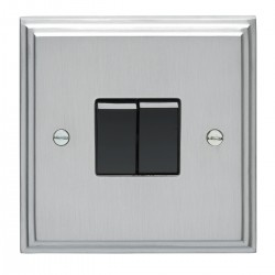Eurolite Stepped Edge Satin Chrome 2 Gang 10amp 2way Switch with Black Insert