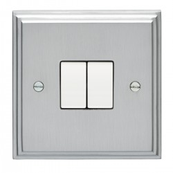 Eurolite Stepped Edge Satin Chrome 2 Gang 10amp 2way Switch with White Insert