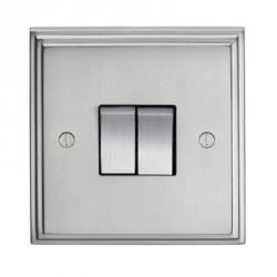 Eurolite Stepped Edge Satin Chrome 2 Gang 10amp 2way Switch with Matching Insert