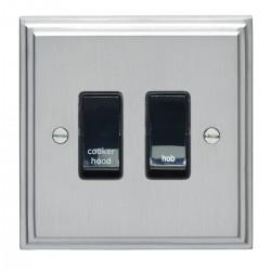 Eurolite Stepped Edge Satin Chrome 2 Gang 20amp DP Engraved Appliance Switch with Black Insert
