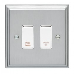 Eurolite Stepped Edge Satin Chrome 2 Gang 20amp DP Engraved Appliance Switch with White Insert