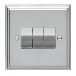 Eurolite Stepped Edge Satin Chrome 3 Gang 10amp 2way Switch with Matching Insert