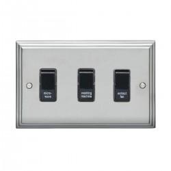 Eurolite Stepped Edge Satin Chrome 3 Gang 20amp DP Engraved Appliance Switch with Black Insert