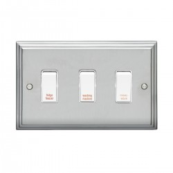 Eurolite Stepped Edge Satin Chrome 3 Gang 20amp DP Engraved Appliance Switch with White Insert