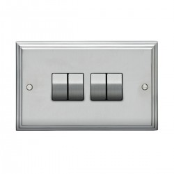 Eurolite Stepped Edge Satin Chrome 4 Gang 10amp 2way Switch with Matching Insert
