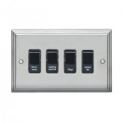 Eurolite Stepped Edge Satin Chrome 4 Gang 20amp DP Engraved Appliance Switch with Black Insert