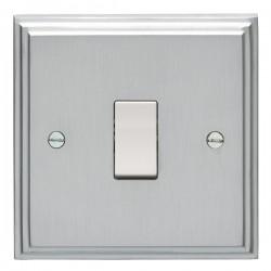 Eurolite Stepped Edge Satin Chrome 1 Gang Intermediate Switch with White Insert