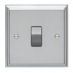 Eurolite Stepped Edge Satin Chrome 1 Gang 20amp DP Switch with Matching Insert