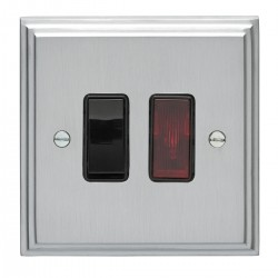 Eurolite Stepped Edge Satin Chrome 1 Gang 20amp DP Switch and Neon with Black Insert