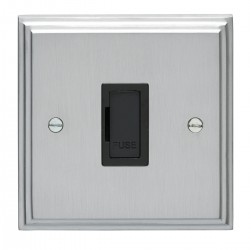 Eurolite Stepped Edge Satin Chrome 13amp Unswitched Fuse Spur with Black Insert