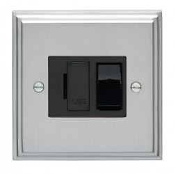 Eurolite Stepped Edge Satin Chrome 13amp Switched Fuse Spur with Black Insert