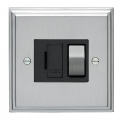Eurolite Stepped Edge Satin Chrome 13amp Switched Fuse Spur with Matching Rocker and Black Insert