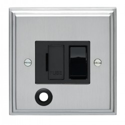 Eurolite Stepped Edge Satin Chrome 13amp Switched Fuse Spur Flex Outlet with Black Insert