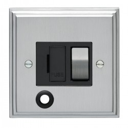 Eurolite Stepped Edge Satin Chrome 13amp Switched Fuse Spur Flex Outlet with Matching Rocker and Black In...