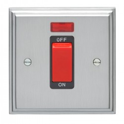 Eurolite Stepped Edge Satin Chrome 1 Gang 45amp DP Cooker Switch and Neon with Black Insert
