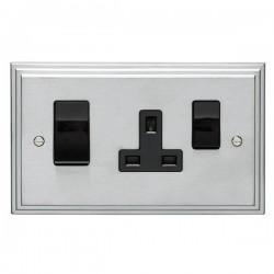 Eurolite Stepped Edge Satin Chrome 2 Gang 45amp DP Switch and Socket with Black Insert