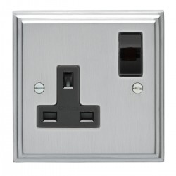 Eurolite Stepped Edge Satin Chrome 1 Gang 13amp DP Switched Socket with Black Insert