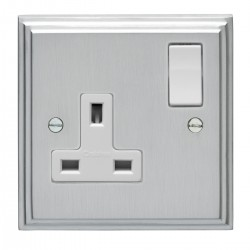 Eurolite Stepped Edge Satin Chrome 1 Gang 13amp DP Switched Socket with White Insert