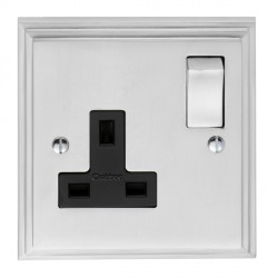 Eurolite Stepped Edge Satin Chrome 1 Gang 13amp DP Switched Socket with Matching Rocker and Black Insert