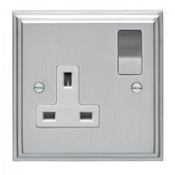 Eurolite Stepped Edge Satin Chrome 1 Gang 13amp DP Switched Socket with Matching Rocker and White Insert
