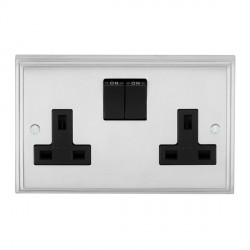 Eurolite Stepped Edge Satin Chrome 2 Gang 13amp DP Switched Socket with Black Insert