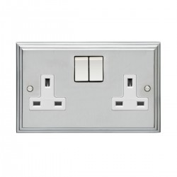 Eurolite Stepped Edge Satin Chrome 2 Gang 13amp DP Switched Socket with White Insert