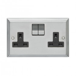 Eurolite Stepped Edge Satin Chrome 2 Gang 13amp DP Switched Socket with Matching Rocker and Black Insert