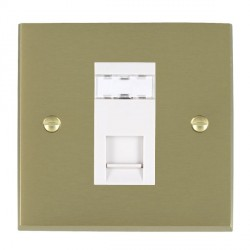 Hamilton Cheriton Victorian Satin Brass 1 Gang RJ12 Outlet Unshielded with White Insert