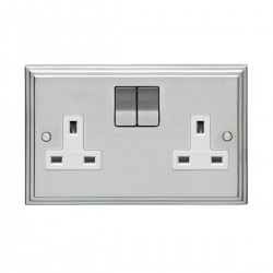 Eurolite Stepped Edge Satin Chrome 2 Gang 13amp DP Switched Socket with Matching Rocker and White Insert