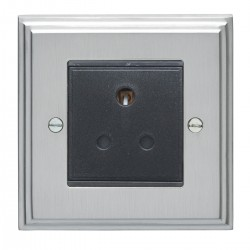 Eurolite Stepped Edge Satin Chrome 1 Gang 5amp Unswitched Socket with Black Insert
