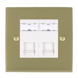 Hamilton Cheriton Victorian Satin Brass 2 Gang RJ45 Outlet Cat 5e Unshielded with White Insert