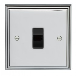 Eurolite Stepped Edge Polished Chrome 1 Gang 10amp 2way Switch with Black Insert