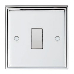 Eurolite Stepped Edge Polished Chrome 1 Gang 10amp 2way Switch with White Insert