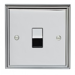 Eurolite Stepped Edge Polished Chrome 1 Gang 10amp 2way Switch with Matching Insert