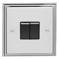 Eurolite Stepped Edge Polished Chrome 2 Gang 10amp 2way Switch with Black Insert
