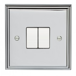 Eurolite Stepped Edge Polished Chrome 2 Gang 10amp 2way Switch with White Insert