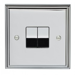 Eurolite Stepped Edge Polished Chrome 2 Gang 10amp 2way Switch with Matching Insert