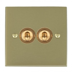 Hamilton Cheriton Victorian Satin Brass 2 Gang 2 Way Dolly with Satin Brass Insert