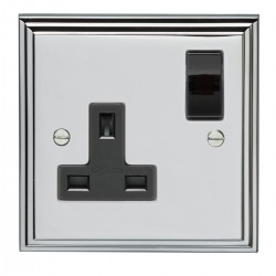 Eurolite Stepped Edge Polished Chrome 1 Gang 13amp DP Switched Socket with Black Insert