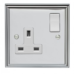 Eurolite Stepped Edge Polished Chrome 1 Gang 13amp DP Switched Socket with White Insert