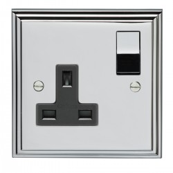 Eurolite Stepped Edge Polished Chrome 1 Gang 13amp DP Switched Socket with Matching Rocker and Black Insert