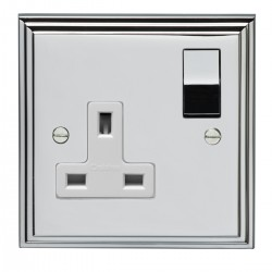 Eurolite Stepped Edge Polished Chrome 1 Gang 13amp DP Switched Socket with Matching Rocker and White Insert