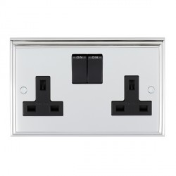 Eurolite Stepped Edge Polished Chrome 2 Gang 13amp DP Switched Socket with Black Insert